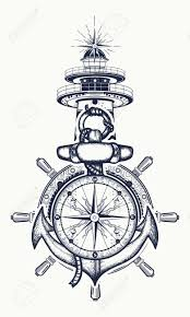 anchor steering wheel compass lighthouse tattoo art symbol