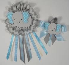 baby shower corsage elephant theme blue and gray elephant 2 pcs