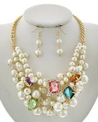 crystal pearl necklace set images Multicolor crystal pearl necklace set beautiful things greeks jpeg