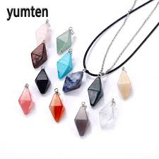 stone necklace pendants images Natural crystal stone pendants lessthink jpg