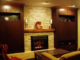 favored stacked stones built in fireplace ideas with wooden mantel