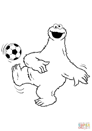cookie monster plays soccer coloring free printable