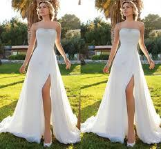 low price wedding dresses 2018 summer cheap wedding dresses sheath chiffon high slit