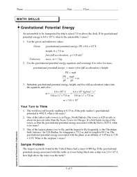 gravitational potential energy 9th 12th grade worksheet lesson
