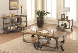 701128 coffee table in rustic brown by coaster w options