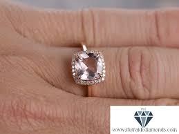 8mm diamond 8mm cushion cut morganite engagement ring diamond halo polished