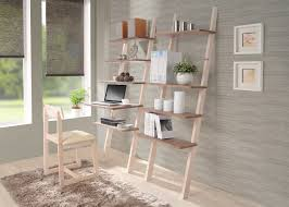 Wooden Laptop Desk ladder bookcase decor selection features unfinished wooden frames