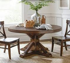 rustic round pedestal dining table benchwright pedestal dining table pottery barn