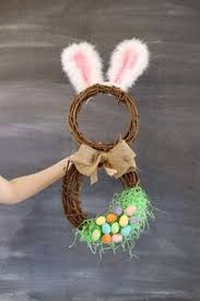 Easter Bunny Hat Decorations by Easter Bunny Door Wreath Rustic Easter Craft Ideas Diy Easter