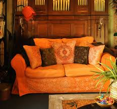 Orange Ikea Sofa by Dyeing To Change My Sofa Gets A Makeover With Dye And Stencils