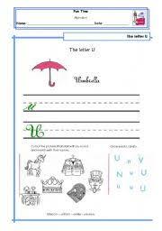 english worksheets letter u