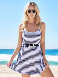 spaghetti strap a line striped dress blue and white summer