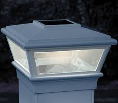 solar deck light white w adapters for 5x5 and 6x6 posts
