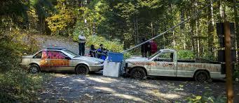 loggers dismantle roadblock set up by environmental activists near