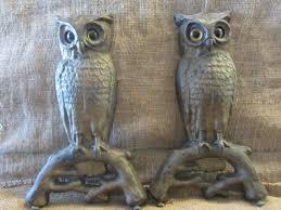 vintage set cast iron owl fireplace andirons w glass eyes antique