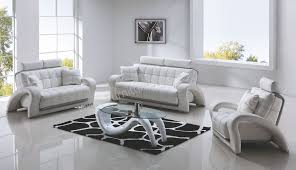 White Living Room Set Innovation White Leather Living Room Set Imposing Design Modern