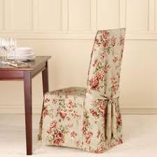 ballad bouquet long dining room chair slipcovers floral pattern