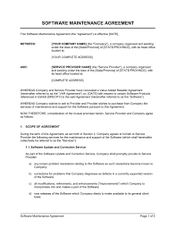 software maintenance agreement var template u0026 sample form