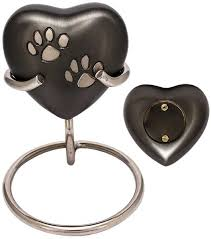 heart urn dogs paws nickel plated brass heart urn