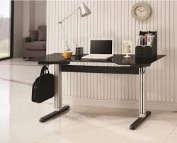 Adjustable Height Desk by Coaster 801315 Sleek Adjustable Height Desk Black And Silver Finish