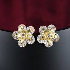 design of gold earrings ear tops 2018 small flower design with 18k gold plated top grade clear