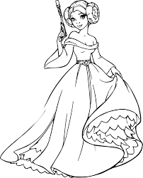 coloriage princesse leia à imprimer sur coloriages info