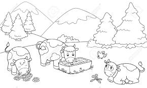 Suche K He Drei Nette Kühe Auf Die Berge Coloring Illustration Für Kinder