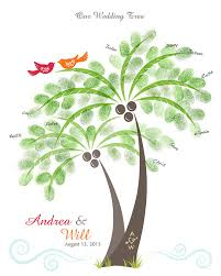 wedding tree wedding palm tree thumbprint guest book poster destination