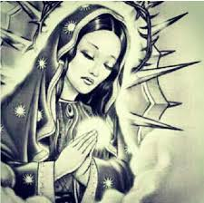 praying virgin mary tattoo design sample