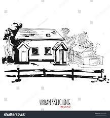 ireland urban sketch outdoor landscape park stock vector 365674508
