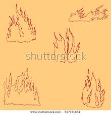 fire sketch by hand pencil drawing stock vector 597731882