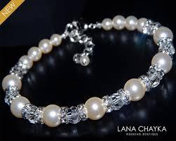 swarovski bracelet with pearls images Ivory pearl bridal bracelet wedding pearl bracelet swarovski pearl jpg