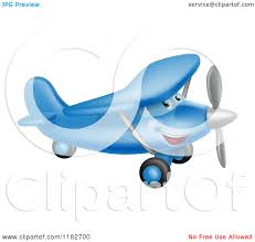 cartoon of a happy blue airplane character flying royalty free