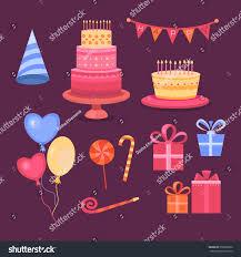 set objects on theme birthday celebration stock illustration