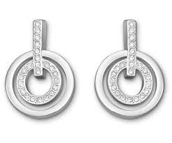 circle earrings circle mini pierced earrings white rhodium plating jewelry