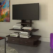 wicker park bauwans dark walnut 70 inch tv stand with mount and
