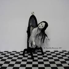 dollhouse miniature gothic spooky halloween creepy ghost white