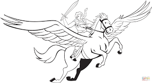 valkyrie riding pegasus coloring page free printable coloring pages