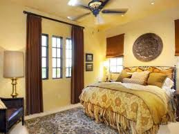 Yellow Brown Curtains Yellow Bedroom Colours With Carved Wall Decor And Brown Curtains