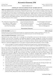 resume exles for 3 resume sle 6 controller chief accounting officer business