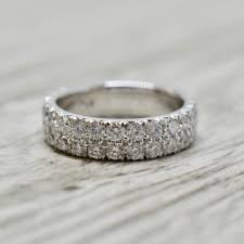 wedding band row pavé three quarter way wedding band in white