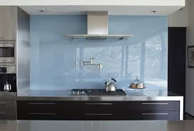 white back painted glass kitchen modern with thin range hood