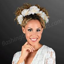 white flower headband warm white lights magical flower halo headband at