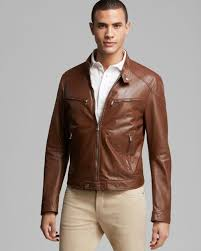 buy biker jacket kent u0026 curwen leather bomber jacket in brown for men lyst