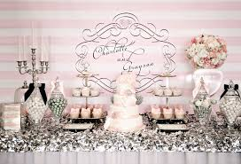 Pink And White Candy Buffet by Pink And Silver Dessert Table Dessert Table Wedding Tables And