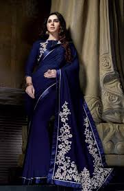 blue unique party wear indian saree