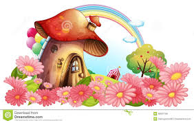 Mushroom Garden Art - a mushroom house with a garden of flowers royalty free stock image