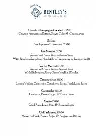 martini price 20 of 20 price lists u0026 menus u2013 bentley u0027s oyster bar u0026 grill london