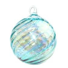 mt st helens volcanic ash blown glass ornament aqua