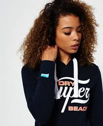 french navy womens superdry super beach hoodie for sale